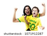 brazilian family cheering... | Shutterstock . vector #1071912287
