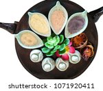 top view spa set treatment on... | Shutterstock . vector #1071920411