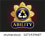 shiny emblem with recycle... | Shutterstock .eps vector #1071929687
