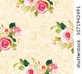 seamless floral pattern with... | Shutterstock .eps vector #1071942491