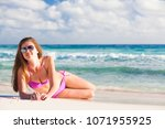 long haired young woman in... | Shutterstock . vector #1071955925