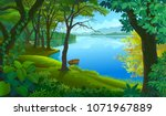 a boat tied to a tree trunk in... | Shutterstock .eps vector #1071967889