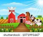 Happy animals at farm background