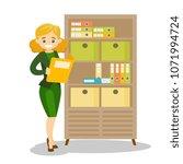 caucasian white office worker... | Shutterstock .eps vector #1071994724