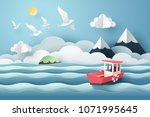 paper art of red boat and the... | Shutterstock .eps vector #1071995645