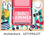 hello summer banner travel ... | Shutterstock .eps vector #1071996137