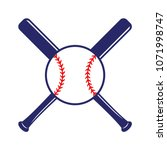 baseball crossed bats with ball.... | Shutterstock .eps vector #1071998747