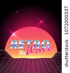 retro futuristic vector... | Shutterstock .eps vector #1072000337