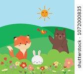 cute spring animal. | Shutterstock .eps vector #1072000835