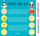first aid kit  with medical... | Shutterstock .eps vector #1072009154