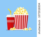 popcorn snack and drink in flat ...   Shutterstock .eps vector #1072018334