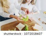 mother preparing sandwich for... | Shutterstock . vector #1072018607