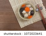 pork chop clear soup in a... | Shutterstock . vector #1072023641