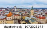 aerial view of old european... | Shutterstock . vector #1072028195