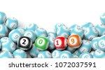 new year 2019 digits on bingo... | Shutterstock . vector #1072037591