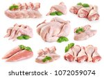 fresh raw chicken and chicken... | Shutterstock . vector #1072059074