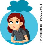 sad depressed girl sitting at... | Shutterstock .eps vector #1072063475
