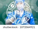 flu. season influenza medical... | Shutterstock . vector #1072064921
