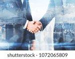 handshake on abstract city... | Shutterstock . vector #1072065809
