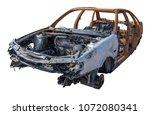 Burnt Rusty Car Isolated On...