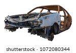 burnt rusty car isolated on...   Shutterstock . vector #1072080344