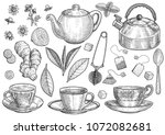 collection of tea illustration  ... | Shutterstock .eps vector #1072082681