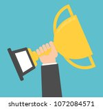 hand holding and rising up... | Shutterstock .eps vector #1072084571