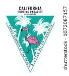 flamingo and palm trees drawing ... | Shutterstock .eps vector #1072087157
