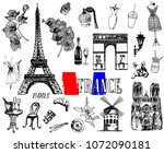 set of hand drawn sketch style... | Shutterstock .eps vector #1072090181