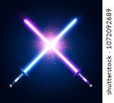 two crossed light neon tubes.... | Shutterstock . vector #1072092689