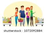 supermarket shopping characters ... | Shutterstock .eps vector #1072092884