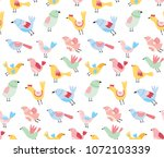 cute birds vector pattern.... | Shutterstock .eps vector #1072103339