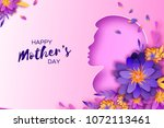 silhouette of a mother in paper ... | Shutterstock .eps vector #1072113461