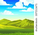 summer landscape with green... | Shutterstock .eps vector #107211671