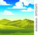 summer landscape with green... | Shutterstock .eps vector #107211671