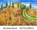 rural landscape with country... | Shutterstock . vector #1072118021