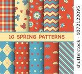 set of spring patterns | Shutterstock .eps vector #1072122095