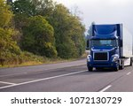 dark blue day cab big rig semi... | Shutterstock . vector #1072130729