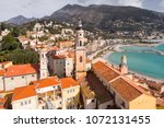 menton  old city houses and sea ... | Shutterstock . vector #1072131455