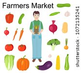 farmer is holding a bag of...   Shutterstock .eps vector #1072135241