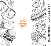 fast food hand drawn sketch... | Shutterstock .eps vector #1072137557