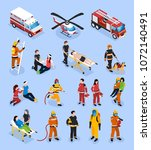 rescue teams isometric set with ...   Shutterstock .eps vector #1072140491