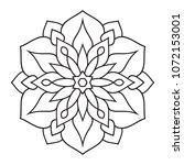 easy simple mandala coloring... | Shutterstock . vector #1072153001