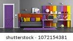 colorful teen bedroom with... | Shutterstock . vector #1072154381