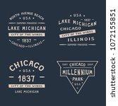 4 chicago badge . chicago  lake ... | Shutterstock .eps vector #1072155851