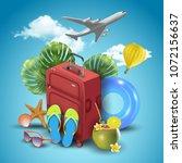 realistic summer vacation...   Shutterstock . vector #1072156637