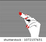 pop art hand. striped... | Shutterstock .eps vector #1072157651
