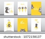 set of cute animals poster... | Shutterstock .eps vector #1072158137