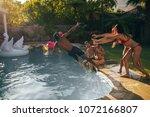 group of friends enjoy pool...   Shutterstock . vector #1072166807