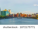salford area of manchester with ... | Shutterstock . vector #1072175771
